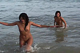 Teen nudist in water