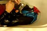 Latex Nincha catsuit bath time
