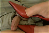 Red high heels shoejob on small cock