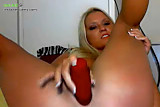 Gorgeous blonde with large dildo 3