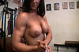 Muscle lady naked posing