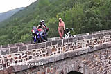 Naked and flashing doing cycling