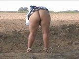 Piss Fat ass pee in street. Bebita mexican slut